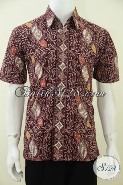 Tempat Beli Baju Batik Pria Online Paling Up To Date, Sedia Hem Batik Coklat Lengan Pendek Proses Cap Tulis, Baju Batik Trendy Bisa Untuk Kerja Kondangan Dan Pesta [LD2758CT-M]