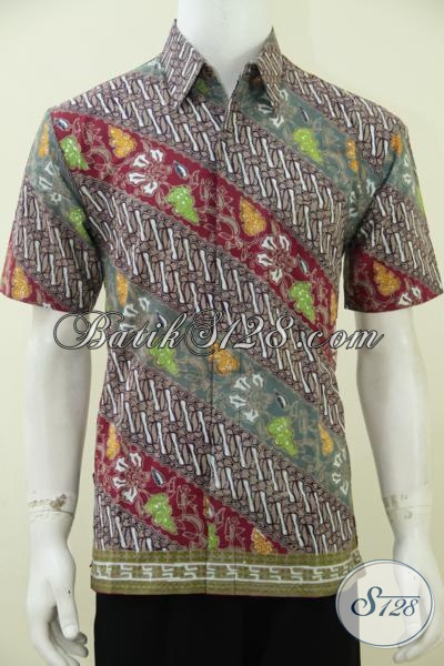 Pusat Baju Batik Pria Online Dengan Koleksi Terlengkap, Sedia Baju Batik Parang Motif Modern Model Lengan Pendek Proses Cap Tulis Kwalitas Halus, Size M