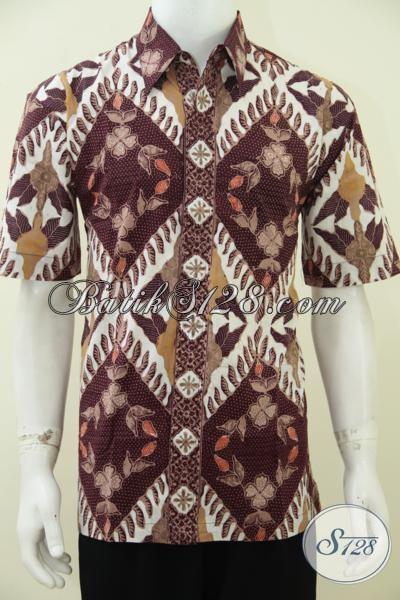 Toko Kemeja Batik Online Terlengkap Asli Produk-Produk Solo, Sedia Hem Batik Koleksi Terbaru Dengan Motif Terkini Model Lengan Pendek, Baju Batik Formal Proses Cap Tulis Bagus Harga Terjangkau [LD2776CT-L]