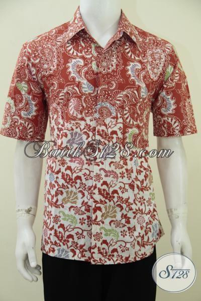 Jual Busana Batik Pria Trend Terkini, Baju Batik Lengan Pendek Kombinasi Dua Motif  Berbahan Halus Dan Lembut Terlihat Lebih Keren Dan Gaul Dengan Warna Merah [LD2784C-L]