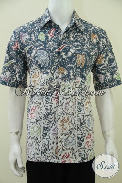 Kemeja Batik Cap Dengan Pewarna Alam Yang Lebih Ramah Lingkungan, Hem batik Lengan Pendek Hijau Dual Motif Trend Masa Kini, Size L