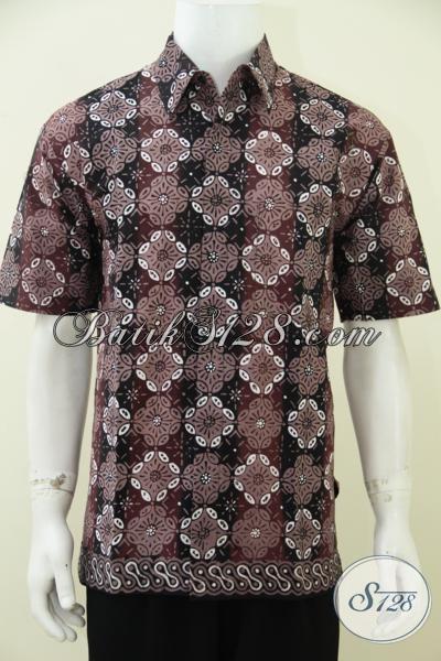Jual Baju Batik Pria Motif Modern Paling Baru, Kemeja Batik Cap Tulis Lengan Pendek Cocok Untuk Santai Dan Acara Resmi, Size L