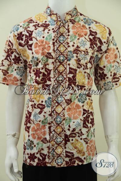 Hem Batik Koko Kerah Shanghai Untuk Pria Muslim, Baju Batik Lengan Pendek Proses Cap Bledak Motif Bagus Bahan Halus, Size L