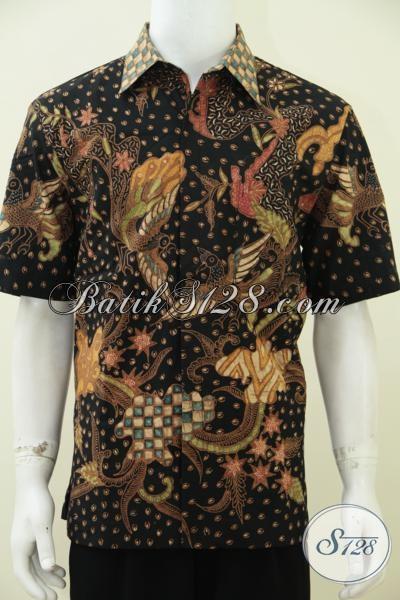 Baju Batik Tulis Soga Kwalitas Premium Untuk Pria Tampan Karir Sukses, Hem Batik Lengan Pendek Mewah Motif Klasik Full Furing Untuk Tampil Gagah Elegan, Size L