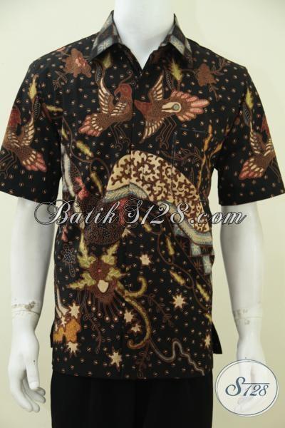 Jual Baju Batik Premium Untuk Para Executive Muda, Hem Batik Lengan Pendek Proses Tulis Soga Full Furing Dengan Pewarna Alami Yang Ramah Lingkungan, Size L