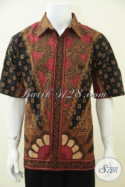 Jual Busana Batik Solo Klasik Kwalitas Premium Buatan Pengerajin Kampung, Kemeja Batik Klasik Full Furing Pria Tampil Gagah Berkarakter [LD2823TF-XL]
