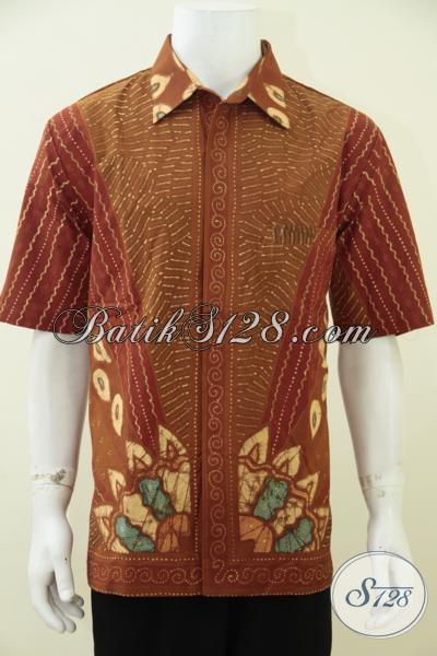 Kemeja Batik Tulis Kwalitas Premium Harga Terjangkau, Baju Batik Full Furing Model Lengan Pendek Pria Tampil Elegan Dan Berkelas, Size XL