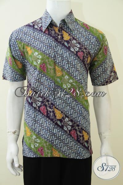 Kemeja Batik Trendy Terbaru Untuk Pria Muda Masa Kini Yang Ingin Up Date Fashion, Baju Batik Lengan Pendek Motif Parang Proses Cap Tulis [LD2834CT-M]