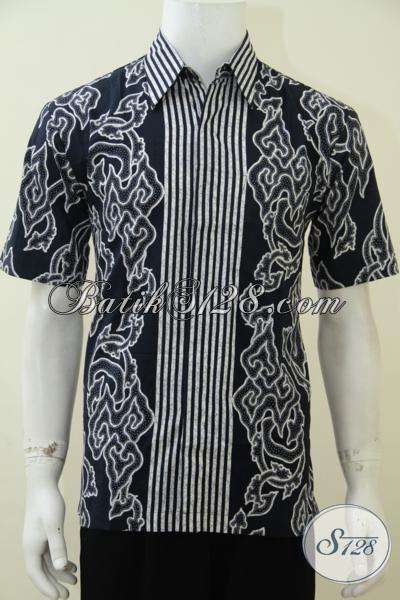 Hem Batik Pria Desain Motif Trendy Harga Murah Meriah, Baju Batik Lengan Pendek Proses Print Bisa Untuk Kerja Dan Santai, Size XL