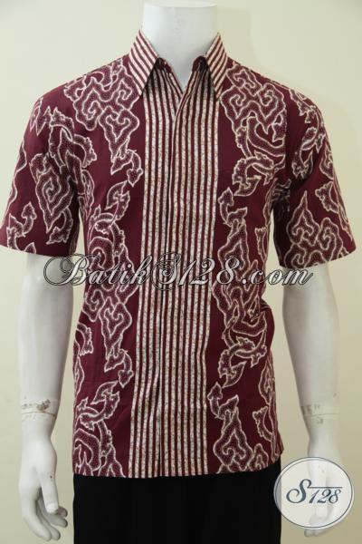 Kemeja Batik Warna Merah Motif Mega Mendung, Pakaian Batik Pria Muda Masa Kini Tampil Keren Dan Bergaya, Size XL