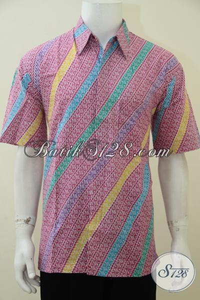 Baju Batik Parang Modern Warna Merah Jambu Keren Untuk