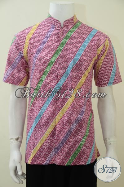 Kemeja Batik Print Warna Merah Jambu Motif Masa Kini Membuat Pria Tampil Fresh, Busana Batik Koko Murah Namun Memiliki Kwalitas Yang Bagus Dan Halus, Size M