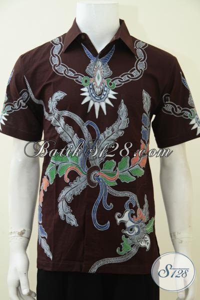 Jual Kemeja Batik Tulis Warna Coklat Motif Keren, Baju Batik Lengan Pendek Kesukaan Para Anak Muda, Size M