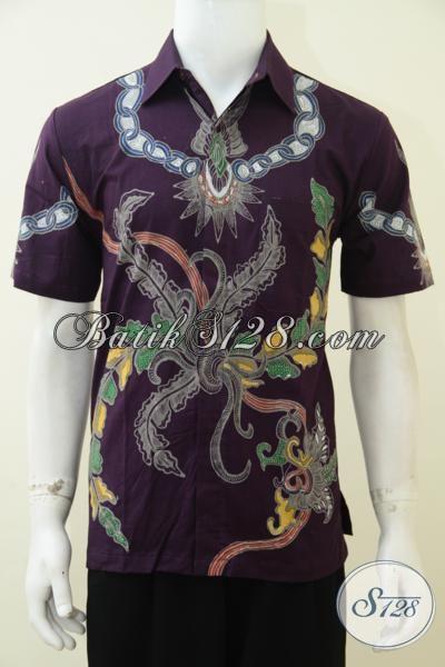 Pakian Batik Anak Muda Jaman Sekarang, Hem Batik Motif Trendy Model Lengan Pendek Proses Tulis Lebih Mewah Berkelas [LD2854T-M]