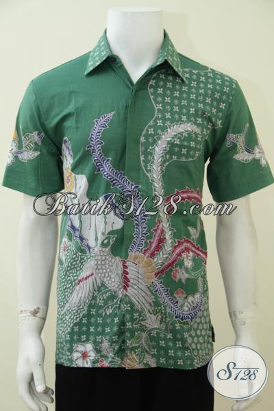 Busana Batik Tulis Motif Simle Anak Muda Banget, Baju Batik Lengan Pendek Hijau Cowok Tampil Lebih Trendy Dan Modis [LD2855T-M]