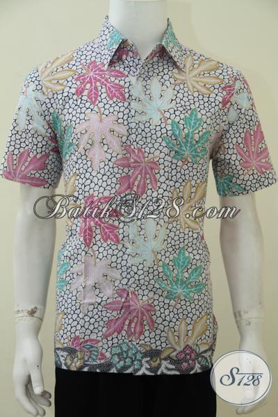 Baju Kemeja Batik Pria Harga Mura Kwalitas Mewah, Hem Batik Print Lengan Pendek Motif Daun Pepaya Warna Cerah Bagus Untuk Pesta, Size M