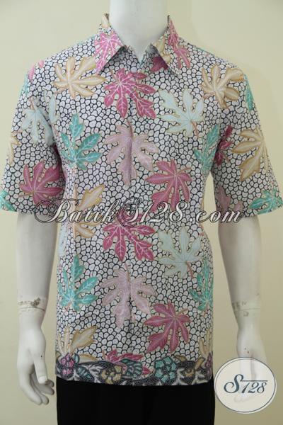 Jual Busana Batik Cowok Masa Kini Motif Daun Pepaya, Baju Batik Lengan Pendek Keren Pria Tampil Modis Dan Bergaya [LD2873P-XL]