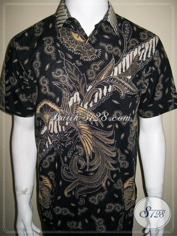 Kemeja Batik Parang Burung Warna Hitam Elegan Dan