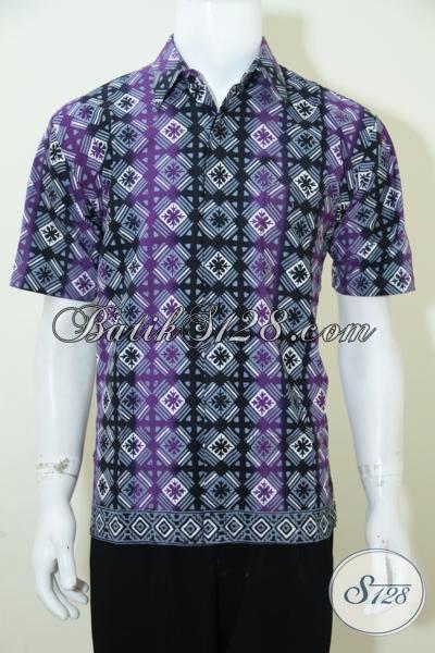 Baju Batik Lengan Pendek Pria Motif Unik, Kemeja Batik Trendy Warna Keren Pas Buat Hangouts Serta Santai, Size M