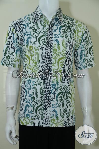 Kemeja Batik Lengan Pendek Proses Cap Bledak, Baju Batik Pria Warna Cerah membuat Penampilan Semakin Modern Dan Segar, Size M