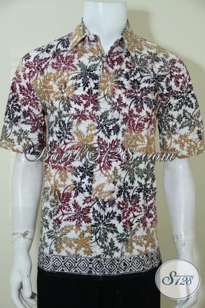 Hem Batik Motif Unik Warna Cerah, Busana Batik Cowok Model Lengan Pendek Dengan Kombinasi Warna Keren Untuk Tampil Lebih Bergaya, Size M