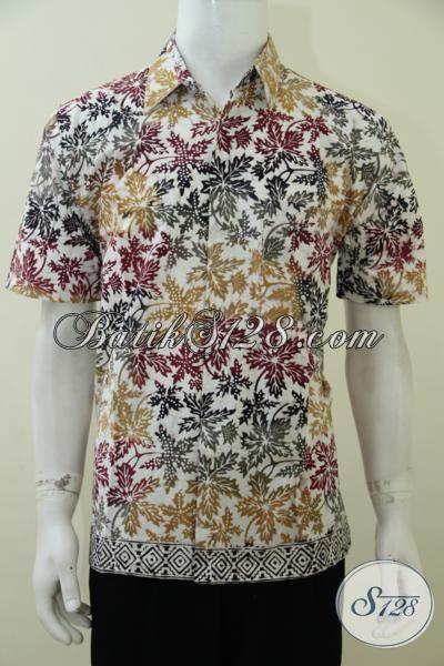 Baju Batik Motif Daun Pepaya Warna Cerah Kombinasi Bagus, Kemeja Batik Modern Pas Buat Gaul Dan Hangouts, Size L