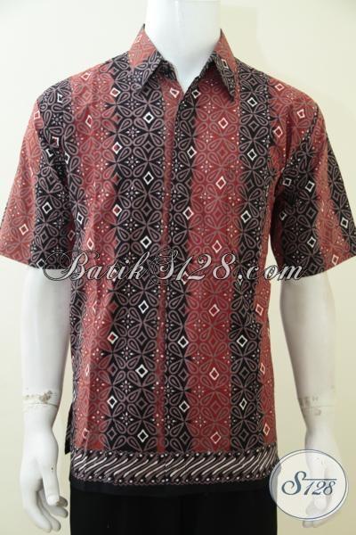 Jual Baju Batik Kerja Pria Masa Kini, Kemeja Batik Motif Trendy Warna Kombinasi Merah Dan Hitam Dengan Motif Unik Pas Buat Anak Muda, Size L