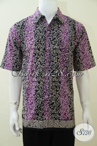 Kemeja Batik Pria Dewasa Motif Terbaru Kombinasi Ungu Dan Hitam, Baju Batik Bagus Dan Halus Hadir Dengan Harga Terjangkau [LD2940CT-XL]
