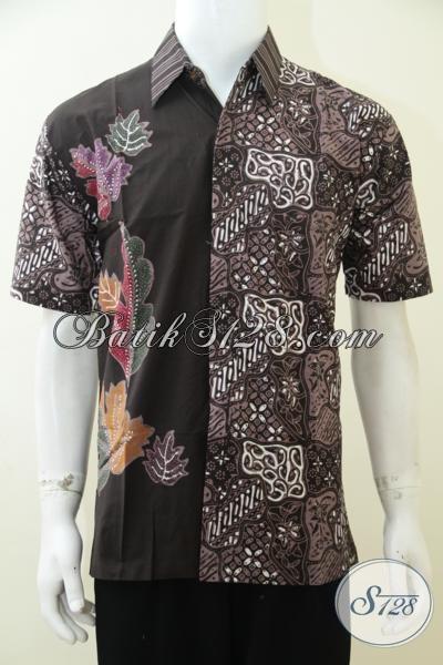 Busana Batik Pria Dewasa Kombinasi Dua Motif Warna Hitam Dan Coklat ... a615389eba