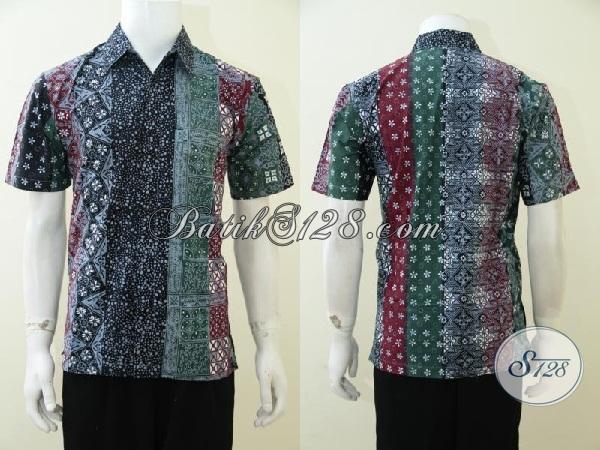 Busana Batik Motif Kombinasi Terbaru Lebih Trendy Dan Berkarakter, baju Batik Lengan pendek Cap Tulis Bisa untuk Resmi Dan Santai [LD2943CT-M]