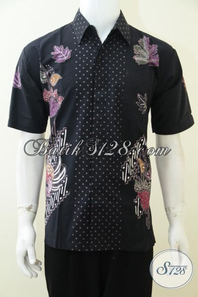 Hem Batik Hitam Motif Simple Tampil Lebih Modern Dan Elegan, Baju Batik Lengan Pendek Proses Cap Tulis [LD2945CT-M]