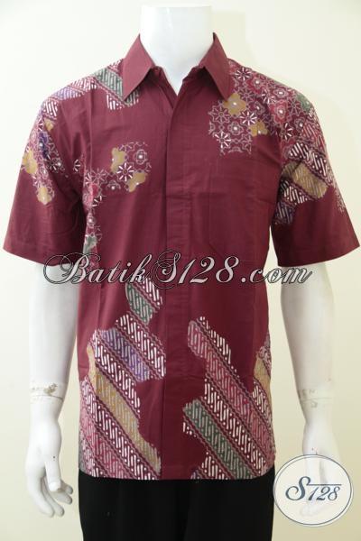 Baju Batik Pria Warna Merah Keren Banget Berpadu Motif Unik Yang Modern, Cocok Untuk seragam Kerja Dan Untuk Baju Resmi Lainnya, Size L