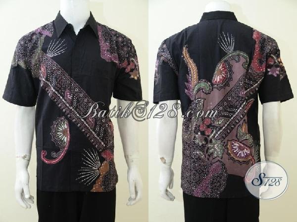 Hem Batik Lengan Pendek Proses Cap Tulis, Baju Batik Trendy Khas Solo Pas Buat Kerja Maupun Gaul, Size L