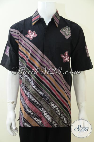 Jual Busana Batik Motif Parang Sentuhan Modern Trend Mode Masa Kini, Kemeja Batik Lengan Pendek Dasar Hitam Cowok Tampil Gagah Berkelas [LD2950CT-L]