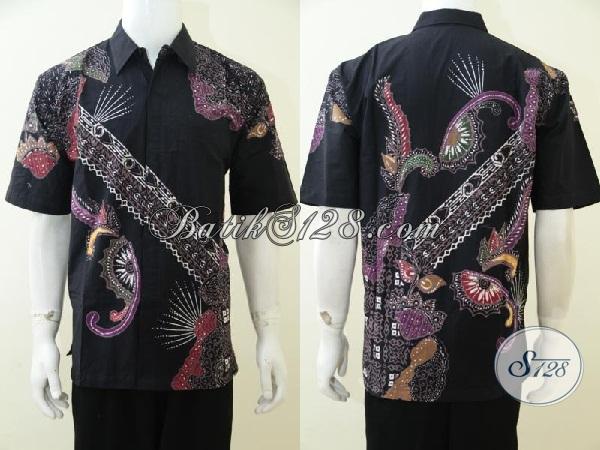Pakaian Batik Trendy Trend Mode Masa Kini Buat Pria Muda Dan Dewasa, Baju Betik Modern Lengan Pendek Kwalitas Bagus Dan Berkelas, Size L