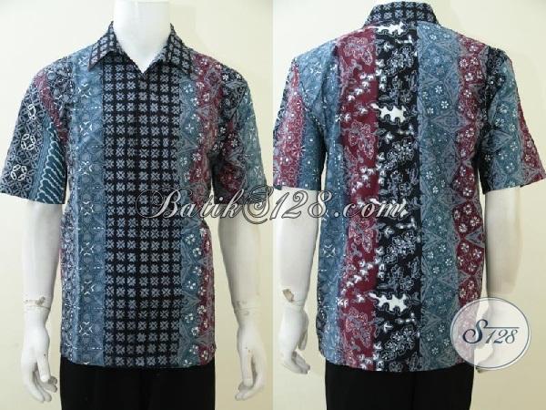 Kemeja Batik Kombinasi Lebih Dari Satu Motif Trend Masa Kini, Busana Batik Pria Model Lengan Pendek Berbahan Halus Adem Dan Nyaman Di Pakaia, Size XL