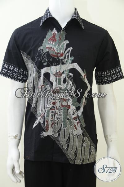 Kemeja Batik Wayang Terbaru Warna Hitam Elegan Motif Baladewa, Baju Batik Tulis Kwalitas Bagus Harga Murah [LD2959T-M]