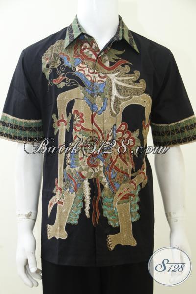 Pakaian Batik Tulis Bagus Harga Murah Motif Wayang Bima, Hem Batik Lengan Pendek  Keren Bisa Buat Kerja Dan Kondangan, Size M