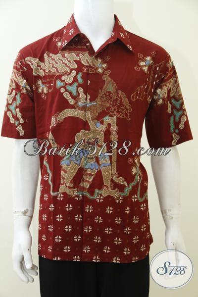 Online Shop Batik Solo, Sedia Kemeja Batik Wayang Antasena Putra Bima Dengan Warna Dasar Merah, Baju Batik Tulis Lengan Pendek Tampil Modis Dan Mewah Di Tempat Kerja [LD2971T-L]