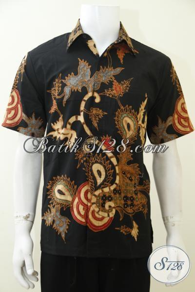Busana Batik Tulis Soga Kwalitas Bagus Dan Halus Yang Pas Buata Acara Formal, Baju Batik Kerja Model Lengan Pendek Mewah Harga Murah, Size M