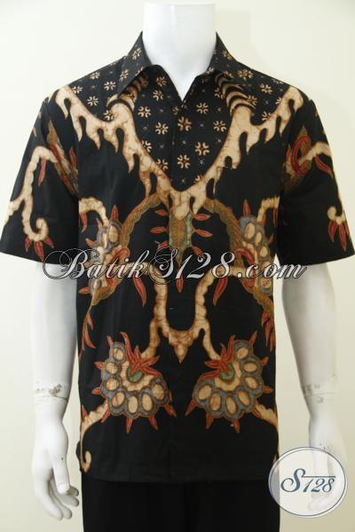 Hem Batik Halus Dan Adem Untuk Pria, Pakaian Batik Lengan Pendek Motif Dan Warna Klasik Proses Tulis Soga Harga Terjangkau, Size L