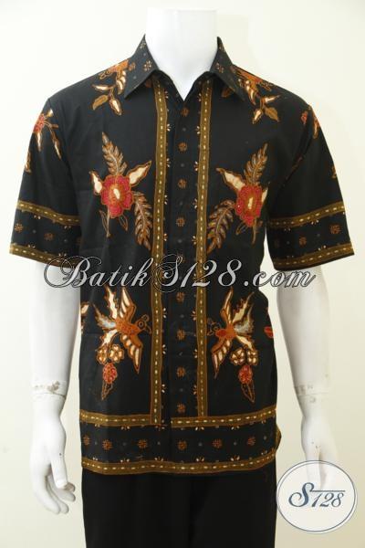 Jual Baju Batik Untuk Pria Muda Maupun Dewasa, Kemeja Batik Lengan Pendek Kwalitas Premium Proses Tulis Soga Dan Bermotif Modern [LD3000TS-L]