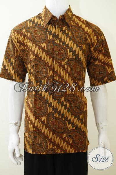 Kemeja Batik Cap Motif Klasik Untuk Laki-laki, Baju Batik Lengan Pendek Tampil Elegan Dengan Harga Murmer, Size L