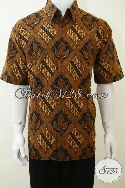 Batik Print Klasik Busana Kerja Tampil Gagah, Hem Batik Pria Dewasa Kwalitas bagus Harga Murmer, Size XL