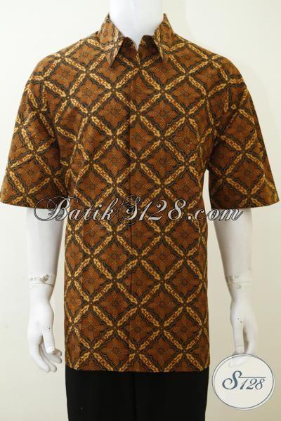 Hem Batik Klasik Ukuran Jumbo Warna Coklat, Batik Pakaian Kerja Dan Kondangan Murah Meriah Pas Untuk Cowok Gemuk, Size XXL