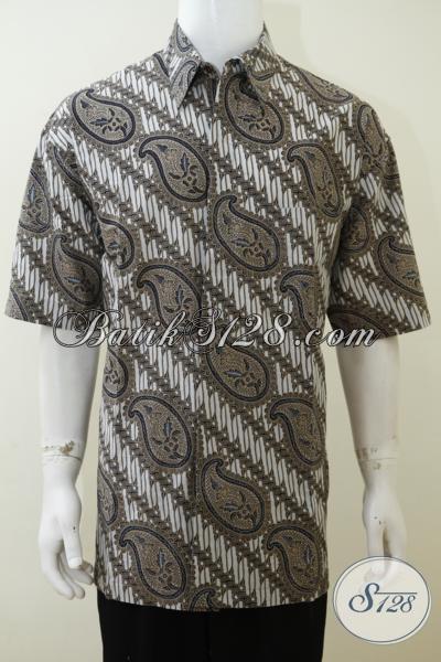Busana Batik Warna Abu-Abu Motif Klasik, Baju Batik Print Lengan Pendek Membuat Pria Lebih Gagah, Size XXL