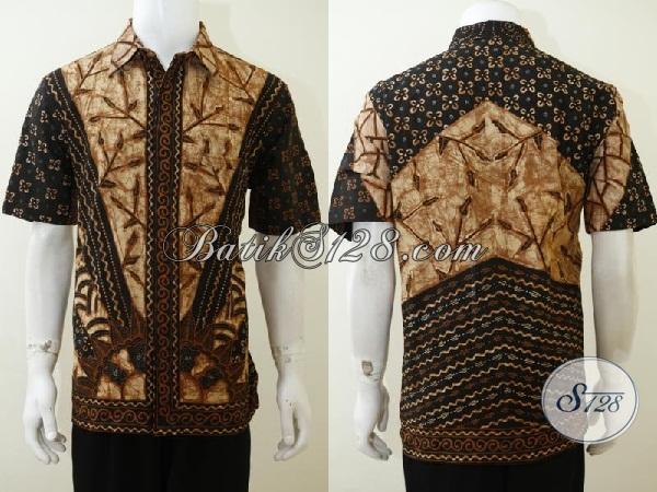Hem Batik tulis Motif Klasik Model Lengan Pendek, Baju Batik Busana Kerja Pria Tampil Elegan Dan Berkarakter, Size L