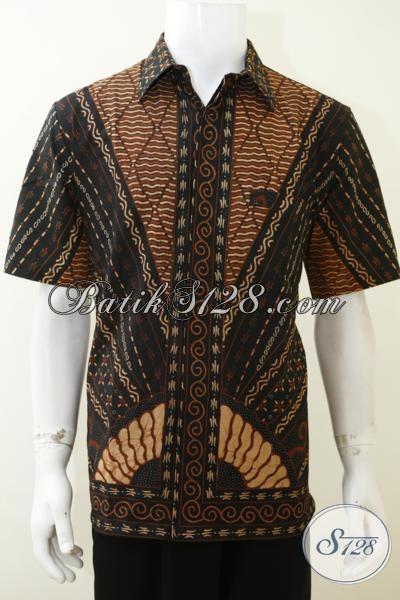 Jual Baju Batik Klasik Buatan Solo Indonesia, Pakaian Batik Tulis Mewah Motif Matahari Cowok Tampil Macho Dan Rapi, Size L