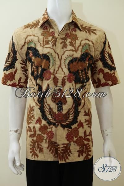 Busana Batik Modern Warna Klasik Model Lengan Pendek, Hem Batik Tulis Bledak Full Furing Mewah Berkelas Pas Buat Kondangan, Size L