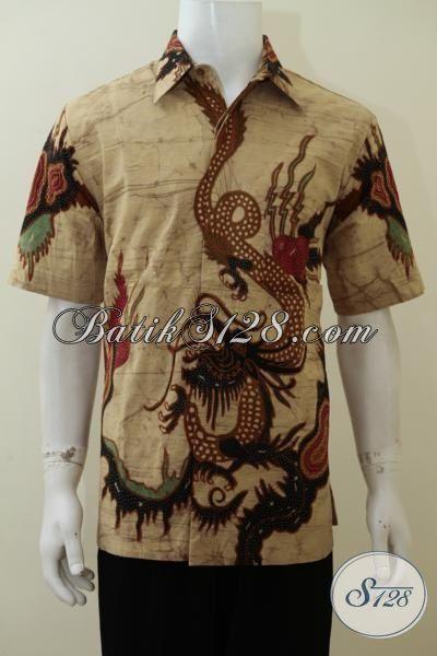 Jual Kemeja Batik Tulis Bledak Asli Buatan Solo, Baju Batik Kwalitas Bagus Model Lengan Pendek Full Furing Mewah Berkelas Cocok Untuk Ke Kantor [LD3072TDF-L]
